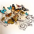 Beautiful vector background with butterflies and ornament — Stock vektor