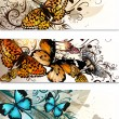 Business cards  set with butterflies and floral ornament - Imagen vectorial