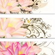 Business cards  set with lotus flowers and swirl ornament - Imagen vectorial