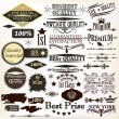 Collection of vintage calligraphic labels premium, high and genu — Stock Vector