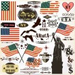 Collection of vintage elements USA symbols for 14 June and 4 Jul - Stock Vector