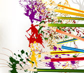 Abstract colorful art vector background with ink splash and penc — Stock Vector