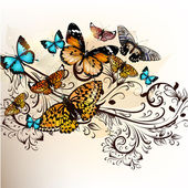 Beautiful vector background with butterflies and ornament — Stock Vector