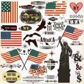 Collection of vintage elements USA symbols for 14 June and 4 Jul — Vecteur