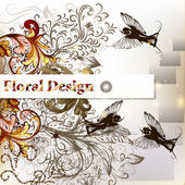 Creative vector stylish floral design with banner, birds and or — Stock Vector