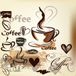 Coffee  grunge vintage vector design with coffee cups, grains an — Stock Vector