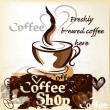 Coffee shop poster in grunge vintage style with cup of freshly — Vecteur #25254645