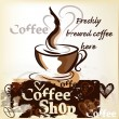 Coffee shop poster in grunge vintage style with cup of freshly — Wektor stockowy #25254645