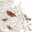 Elegant wedding design with hand drawn flowers and butterflies — ベクター素材ストック