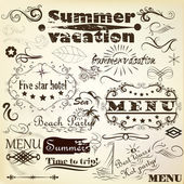 Calligraphic vintage design elements summer and vacation time — Stock Vector