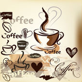 Coffee grunge vintage vector design with coffee cups, grains an — Vettoriale Stock