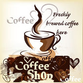 Coffee shop poster in grunge vintage style with cup of freshly — Vector de stock
