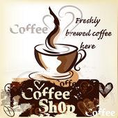 Koffie winkel poster in grunge vintage stijl met kop vers — Stockvector