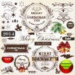 Stock Vector: Christmas vintage calligraphic elements and page decorations