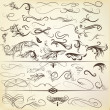 Vector de stock : Vector set of vintage calligraphic elements and page decorations