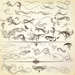 图库矢量图片: Vector set of vintage calligraphic elements and page decorations