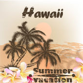 Banner with Hawaii palms in grunge vintage style for summer desi — Stock Vector