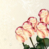 Design with vector beige and pink roses — Vettoriale Stock
