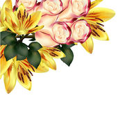 Floral background with detailed vector lily and roses — Stok Vektör