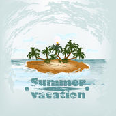 Grunge vintage poster design on summer theme with island and pal — Stok Vektör