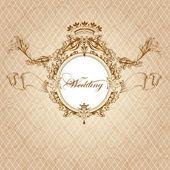 高級ビンテージ スタイルの結婚式の招待カード — ストックベクタ