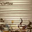 Coffee vector background with wooden texture — Imagen vectorial