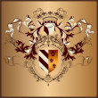 ������, ������: Heraldic element with armor banner crown and ribbons in royal