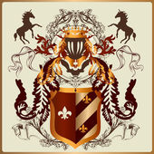 Beautiful heraldic design with armor, ribbons and royal elements — Vecteur