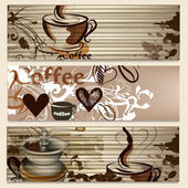 Coffee brochures with cups and grains for design — Stock Vector