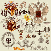 Collection of heraldry elements for your heraldic projects — Stock Vector