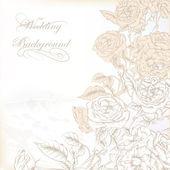 Fondo elegante boda con rosas dibujado a mano para el diseño — Vector de stock