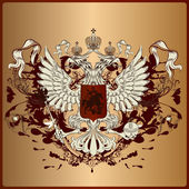 Heraldic eagle with armor, banner, crown and ribbons in royal vi — Cтоковый вектор