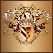 Heraldic element with armor, banner, crown and ribbons in royal — Stockvector