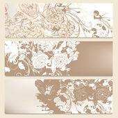 Set of wedding brochures in classic style with roses — Vector de stock