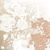 ślub tło z róż sylwetki — Wektor stockowy
