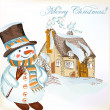 Christmas background with hand drawn snowman and little house — Stock Vector