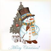Christmas greeting card with snowman and Christmas tree — Stock Vector