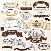 Collection of vector banners premium, genuine and highest qualit — Stok Vektör