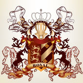 Design with royal heraldic element from ribbons, crown and shiel — Stock vektor