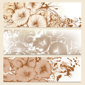 Set of floral brochures in classic style with flowers — Stock Vector