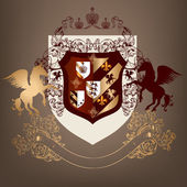 Coat of arms with shield, banner and horses in luxury style — Vector de stock