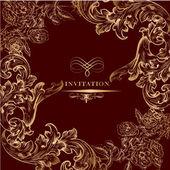 Carte d'invitation royale d'or ornement vintage — Vecteur