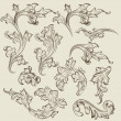 Vector de stock : Vector set of vintage swirl ornaments for design