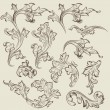 Stok Vektör: Vector set of vintage swirl ornaments for design