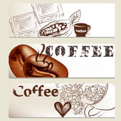 Brochure set on coffee theme for design — Stock Vector