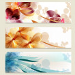 Brochure vector set in floral style — Stock Vector