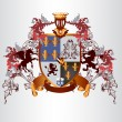 Vetorial Stock : Heraldic design with coat of arms and shield in vintage style