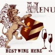 Vector de stock : Menu or poster design in heraldic style with lion and wine