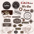 Set of vintage vector coffee badges and labels — Stok Vektör