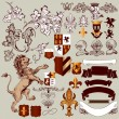 图库矢量图片: Vector set of vintage heraldic elements for design